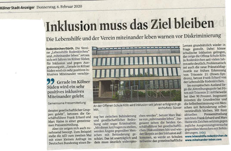 Ausschnitt aus Kölner Stadt-Anzeiger: Inklusion muss das Ziel bleiben