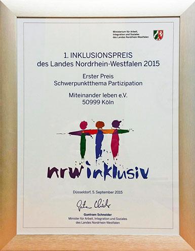Urkunde zum ersten Inklusionspreis des Landes Nordrhein-Westfalen in 2015