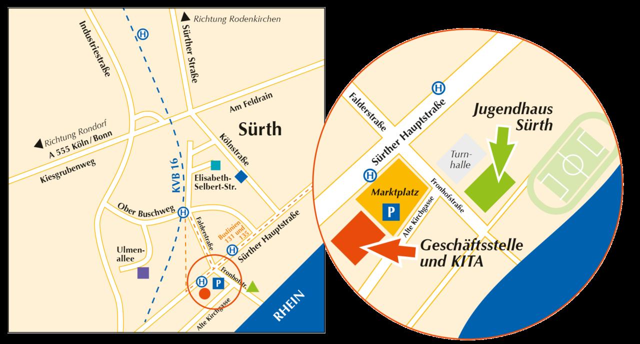 Karte mit Umgebung von der Geschäftsstelle und dem Jugendhaus von Miteinander Leben.