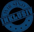 Siegel mit Aufschrift: Wir sind inklusiv