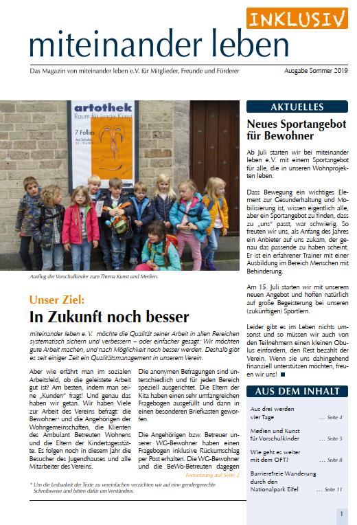Deckblatt von der Zeitung Miteinander leben inklusiv vom Sommer 2019