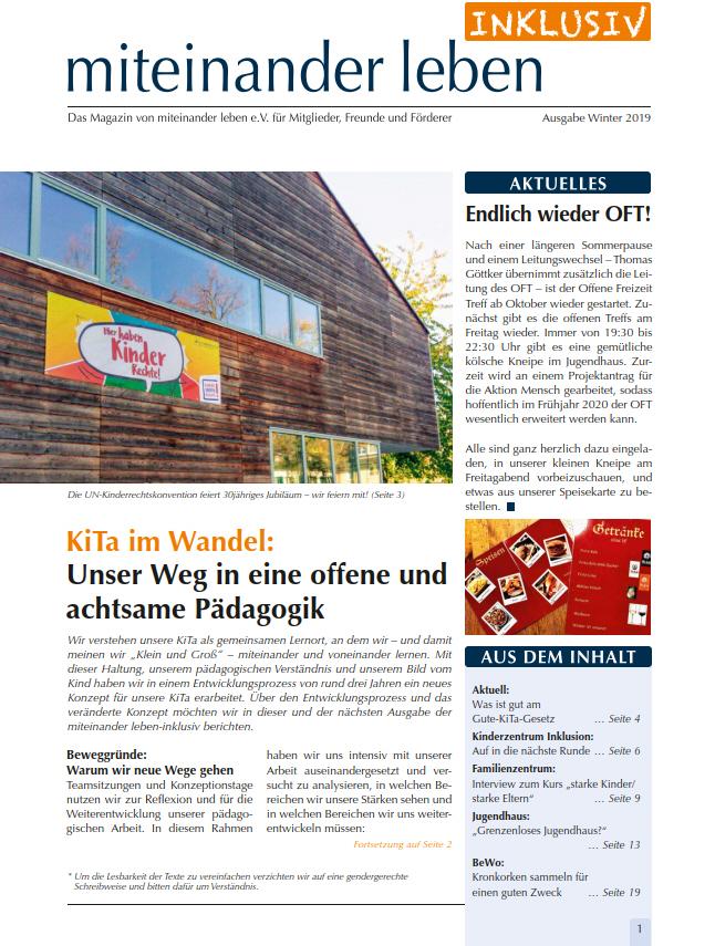"""Deckblatt der Zeitung """"Miteinander Leben Inklusiv"""" vom Winter 2019"""