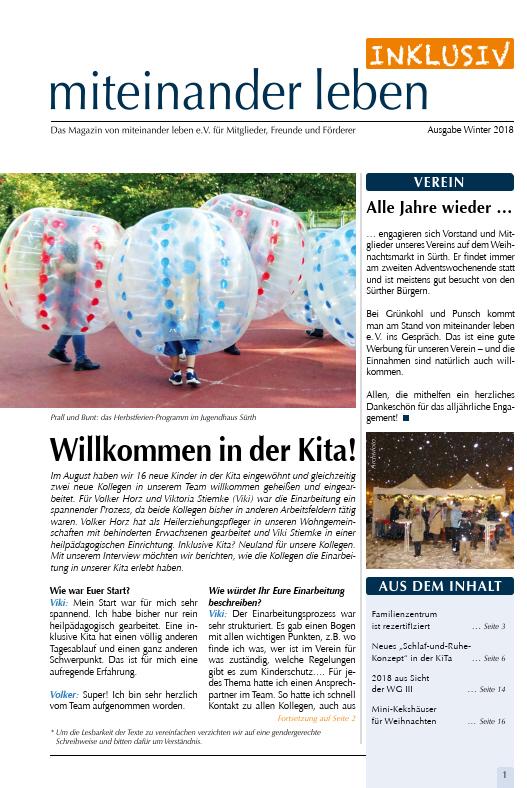 Deckblatt der Zeitung miteinander leben Inklusiv vom Winter 2018