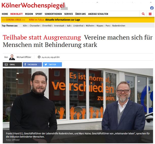 Ausschnitt aus Kölner Wochenspiegel: Teilhabe statt Ausgrenzung -  Vereine machen sich für Menschen mit Behinderung stark
